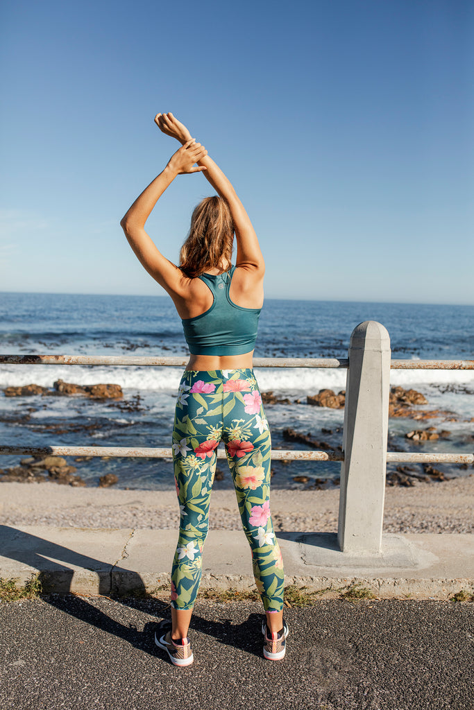 CARMIÉN TEA TEAL FLORAL LEGGINGS