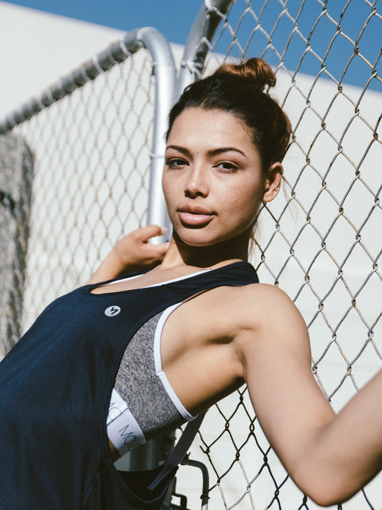 MOVEPRETTY ELASTIC TANK NAVY
