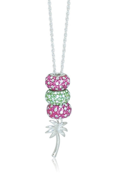 Pink & Green Palm Tree Necklace