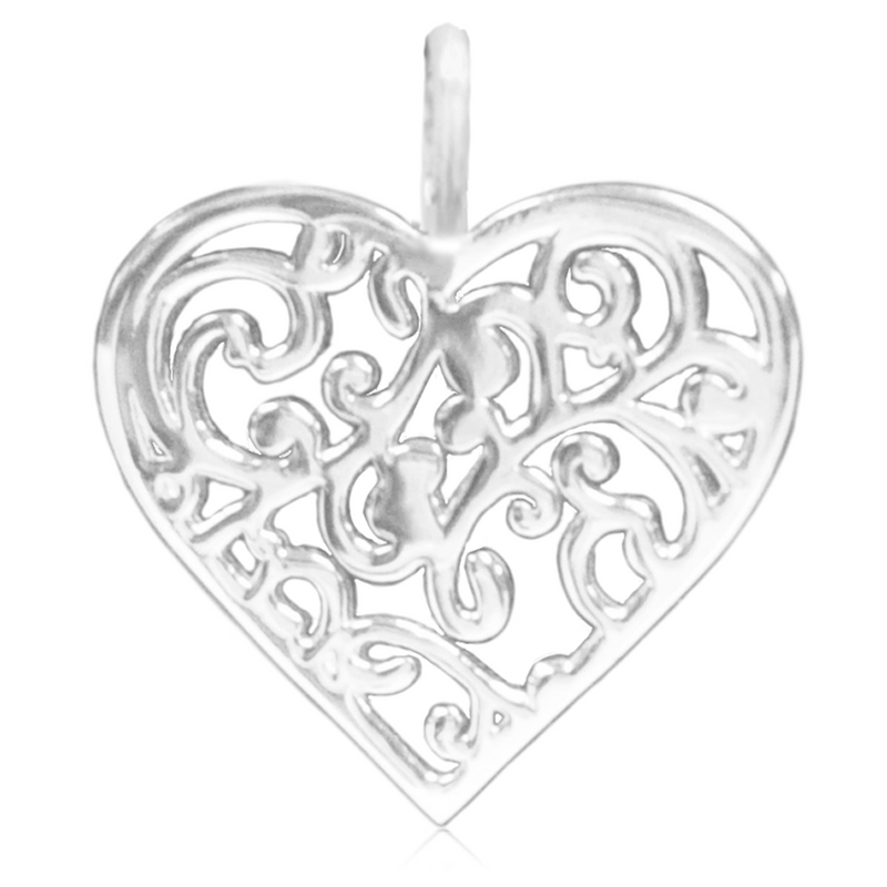 8069 | Sterling Silver Pendant – Filigree Heart