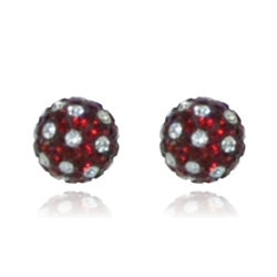 CB1014 | Crystal Ball Stud Earring - Garnet & White
