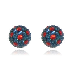 CB1020 | Crystal Ball Stud Earring - Navy & Bright Red