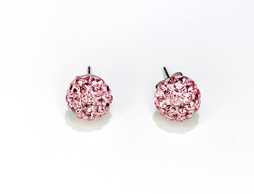 CB4021 l HD Crystal Ball Stud Earrings - Lt. Pink Rose