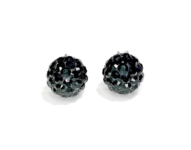 CB4004 l HD Crystal Ball Stud Earrings - Jet Black