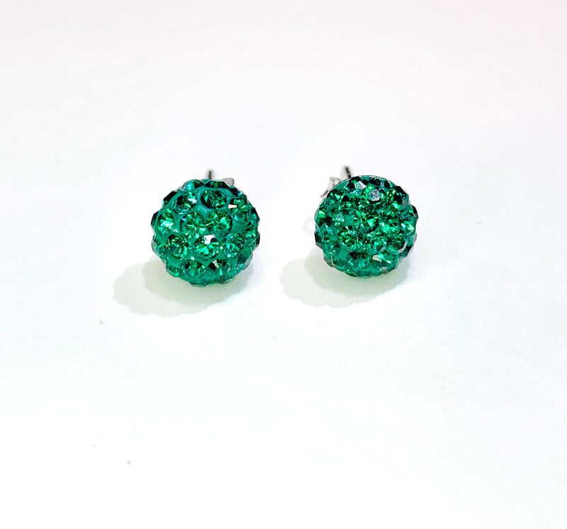 CB4009 l HD Crystal Ball Stud Earrings - Emerald Green (May)