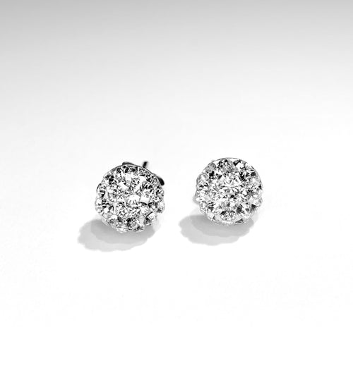 CB4008 l HD Crystal Ball Stud Earrings - Clear Crystal (April)