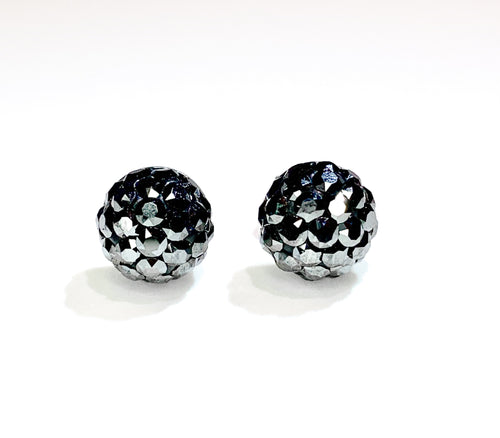 CB4032 l HD Crystal Ball Stud Earrings - Metallic Grey
