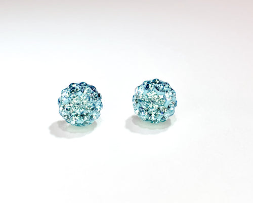 CB4015 l HD Crystal Ball Stud Earrings - Aqua Blue (March)