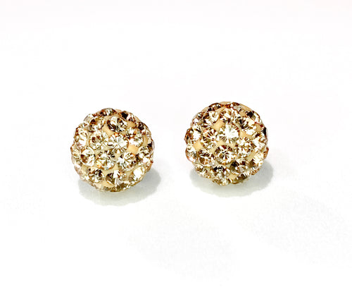 CB4018 l HD Crystal Ball Stud Earrings - Lt. Golden Topaz
