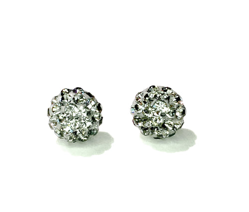 CB4013 l HD Crystal Ball Stud Earrings - Silver Grey
