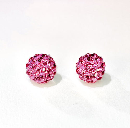 CB4006 l HD Crystal Ball Stud Earrings - Pink Rose (October)