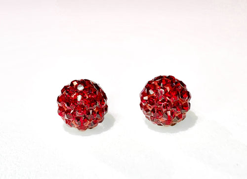 CB4005 l HD Crystal Ball Stud Earrings - Siam Red (January)