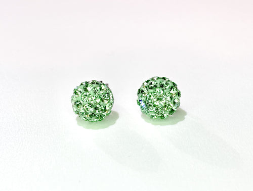 CB4011 l HD Crystal Ball Stud Earrings - Peridot Green (August)