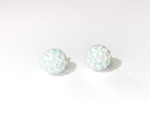 CB4025 l HD Crystal Ball Stud Earrings - White Opal