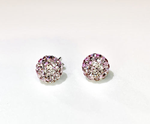 CB4003 l HD Crystal Ball Stud Earrings - Lt. Purple Amethyst (June)