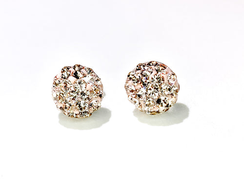CB4022 l HD Crystal Ball Stud Earrings - Champagne