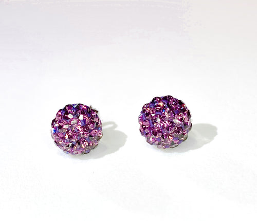 CB4002 l HD Crystal Ball Stud Earrings - Purple Amethyst (February)