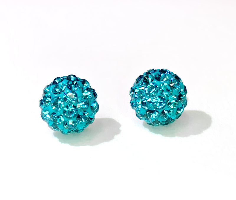 CB4014 l HD Crystal Ball Stud Earrings - Teal Zircon (December)