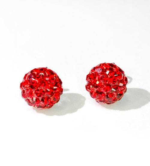 CB4016 l HD Crystal Ball Stud Earrings - Bright Red Siam (July)