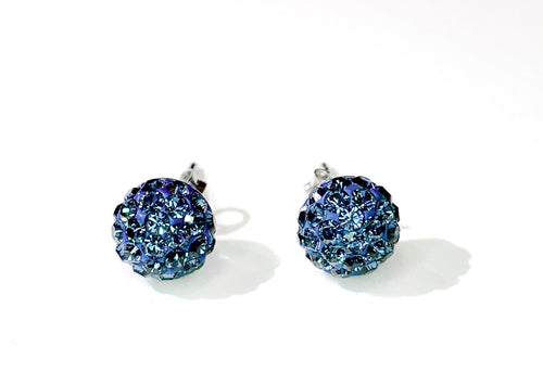 CB4010 l HD Crystal Ball Stud Earrings - Montana Navy Blue