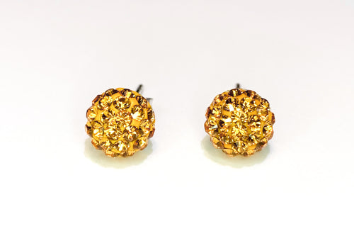CB4007 l HD Crystal Ball Stud Earrings - Golden Topaz (November)