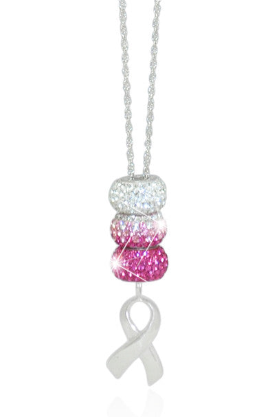 Pink & White Fade Support Ribbon Necklace