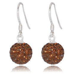 CB2011 | Crystal Ball Dangle Earring - Chocolate Brown