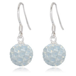 CB2031 | Crystal Ball Dangle Earring - White Opal