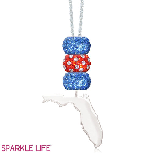 Orange & Blue 3 Sparklie Florida Necklace