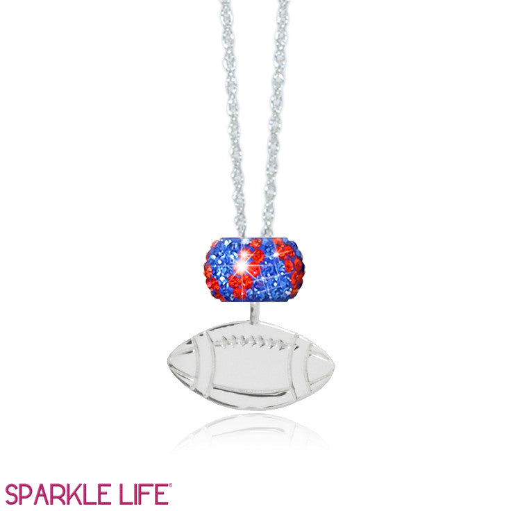 Orange & Blue Stripe Football Necklace