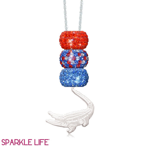 Orange & Blue 3 Sparklie Gator Necklace