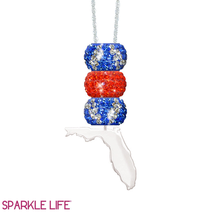 Orange & Blue Stripe 3 Sparklie Florida Necklace