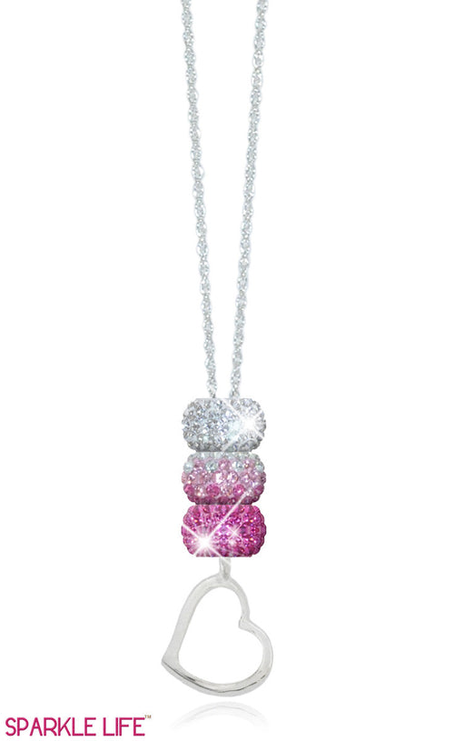 Pink & White Fade Heart Necklace