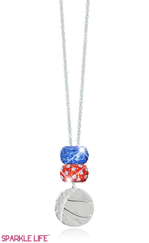 Orange Polka Dot & Blue Basketball Necklace