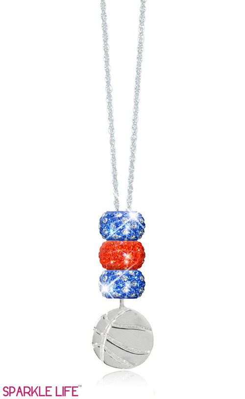Orange & Blue Polka Dot Basketball Necklace