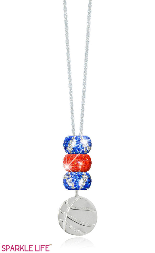 Orange & Blue Zebra Basketball Necklace