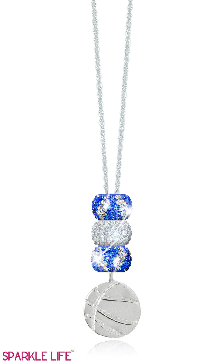 Sapphire & White Basketball Necklace