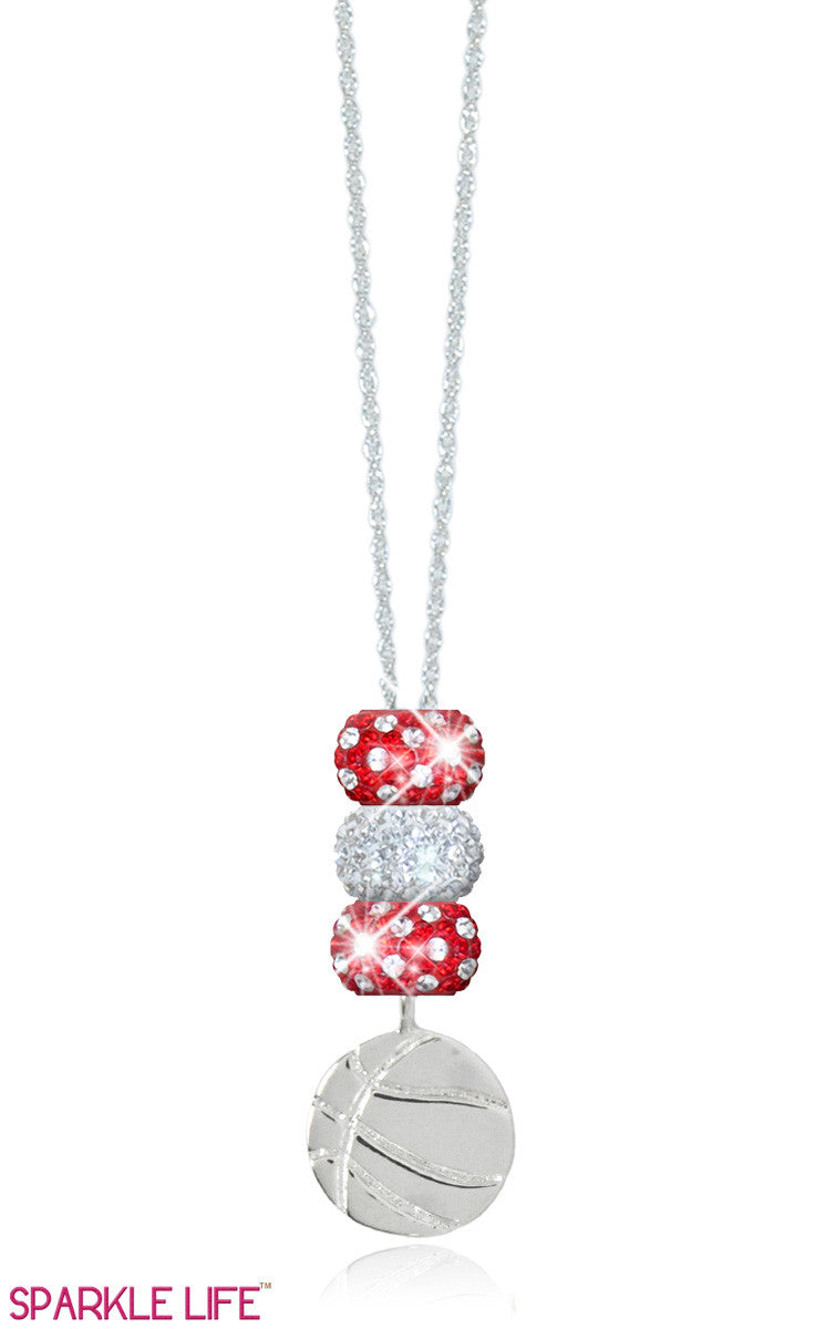 Red & White Basketball Necklace