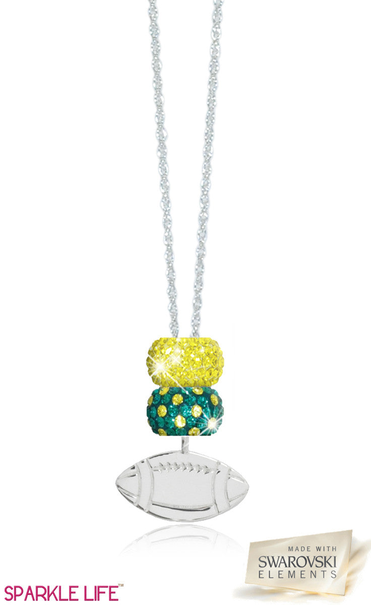 Green & Yellow Polka Dot Football Necklace