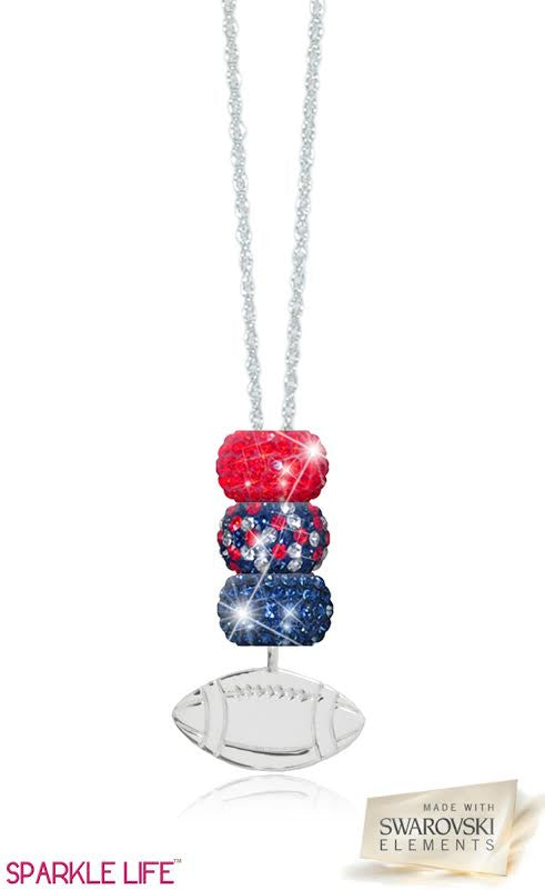 Navy & Red Football Necklace