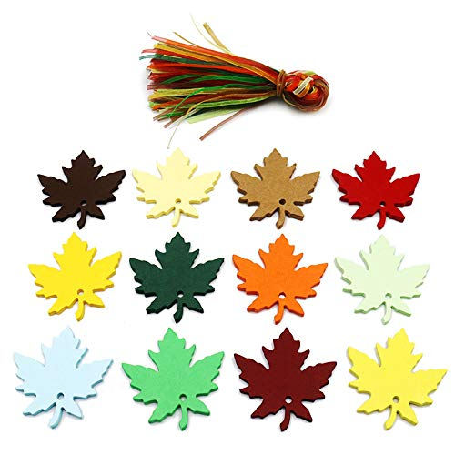 JijAcraft Thanksgiving Tags ,120 Pcs 12 Colors Fall Maple Leaves Gift Tags with Organza Ribbons Fall Wedding Party Favors Tags Christmas Paper Gift Tags with String - JijaCraft