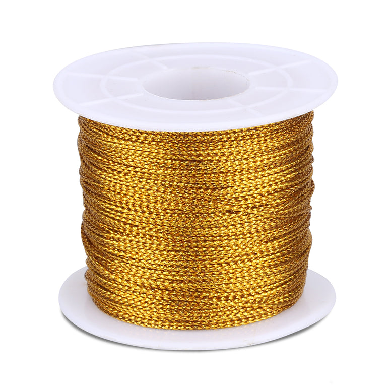 Gold Twine String,100M Gold Thread Twist Ties with Coil,Gold Metallic String for Christmas String,Polyester String Jewelry Cord, DIY Craft String Thread and Packing String - JijaCraft