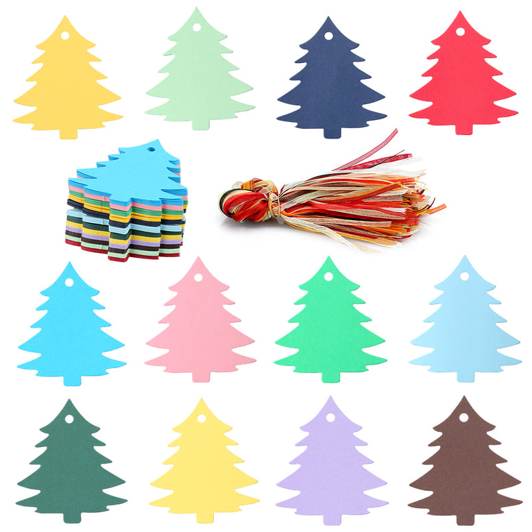 Christmas Tree Gift Tags,120 Pcs 12 Colors Blank Gift Wrap Tags with Organza Ribbons Colored Paper Gift Tags with String Holiday Gift Party Favors Tags - JijaCraft