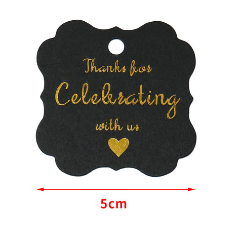 Original Design Paper Gift Tags,Thank You for Celebrating with Us Tags,100 Pcs Black Gold Hang Tag with 100 Feet Jute Twine for Wedding Party Favors, Baby Shower - JijaCraft