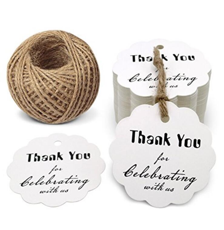 Thank You for Celebrating with US,Kraft Paper Gift Tags, Round Thanks Label For Baby Shower, Bridal Wedding, Anniversary Celebration - JijaCraft