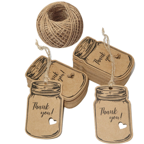 "Thank You Tags,Mason Jar Tags,100PCS Kraft Paper Gift Tags with 100 Feet Jute Twine,3""x1.8""Vintage Style Brown Tags for DIY Craft Party Favors - JijaCraft"
