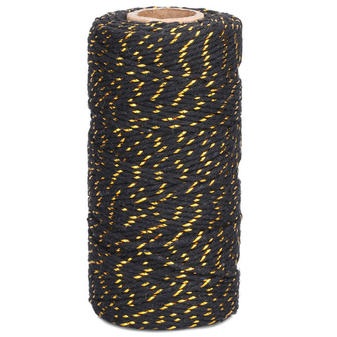 100 M Black and Gold String,Black Christmas Cotton Twine - JijaCraft
