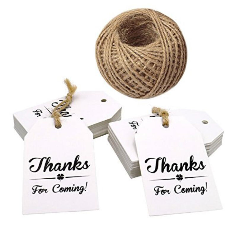 "Thanks for Coming Tags,100 PCS White Gift Paper Tags,""Thanks for Coming""Printed Hang Labels,Baby Shower Birthday Favor Tags with 100 Feet Natural Jute Twine - JijaCraft"