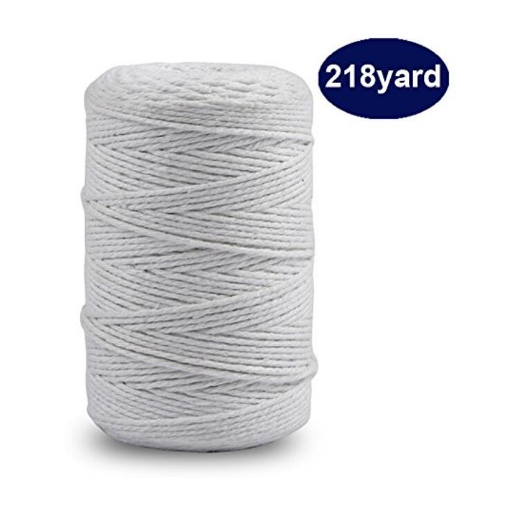200M (218 Yard) Cotton Twine String,12-Ply Cooking Kitchen Twine String Craft String Baker Twine for Tying Homemade Meat, Making Sausage, DIY Craft and Gardening Applications - JijaCraft