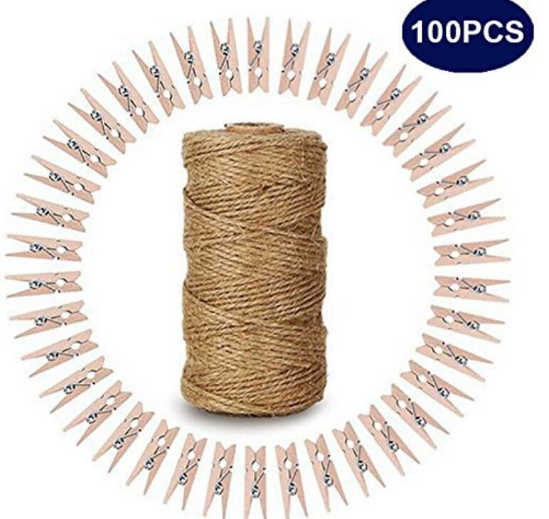 100 Pcs 3.5 cm Natural Wooden Clothespins with Spring Photo Paper Peg Wooden Mini Clips Craft Pegs with 328 Feet Natural Jute Twine for Arts & Crafts DIY Decorations - JijaCraft